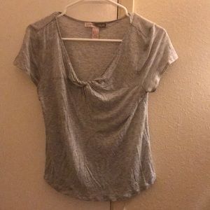 Small grey ruched top shirt.